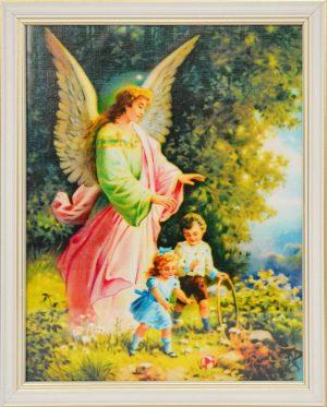 capax-dei-obraz-aniol-stroz-dzieci-biala-ramka