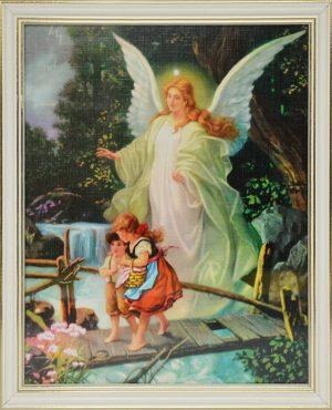 capax-dei-obraz-aniol-stroz-dzieci-na-kladce-biala-ramka